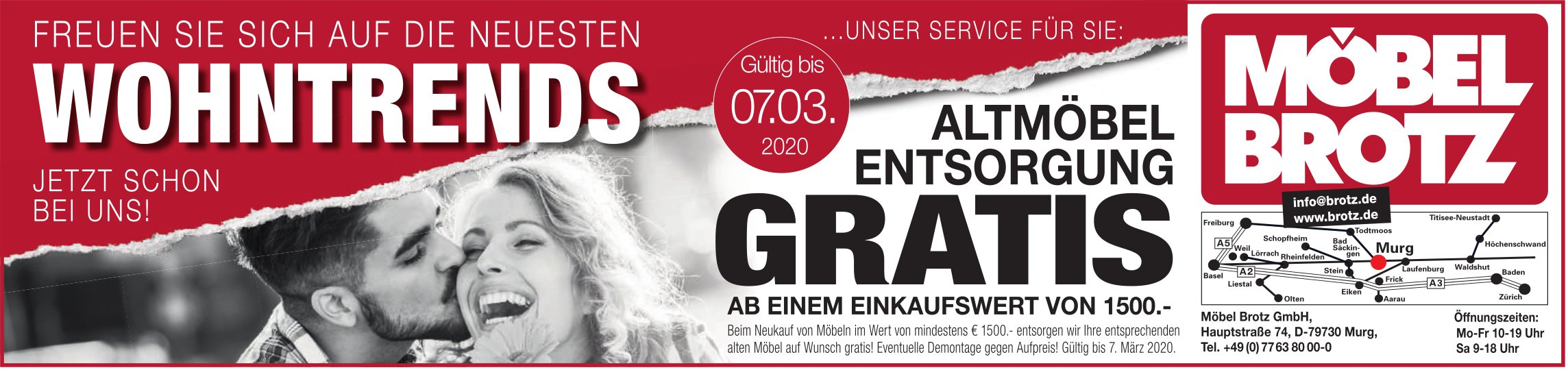 Freuen Sie sich auf die neuesten Wohntrends bis 7. März, Möbel Brotz GmbH, Murg
