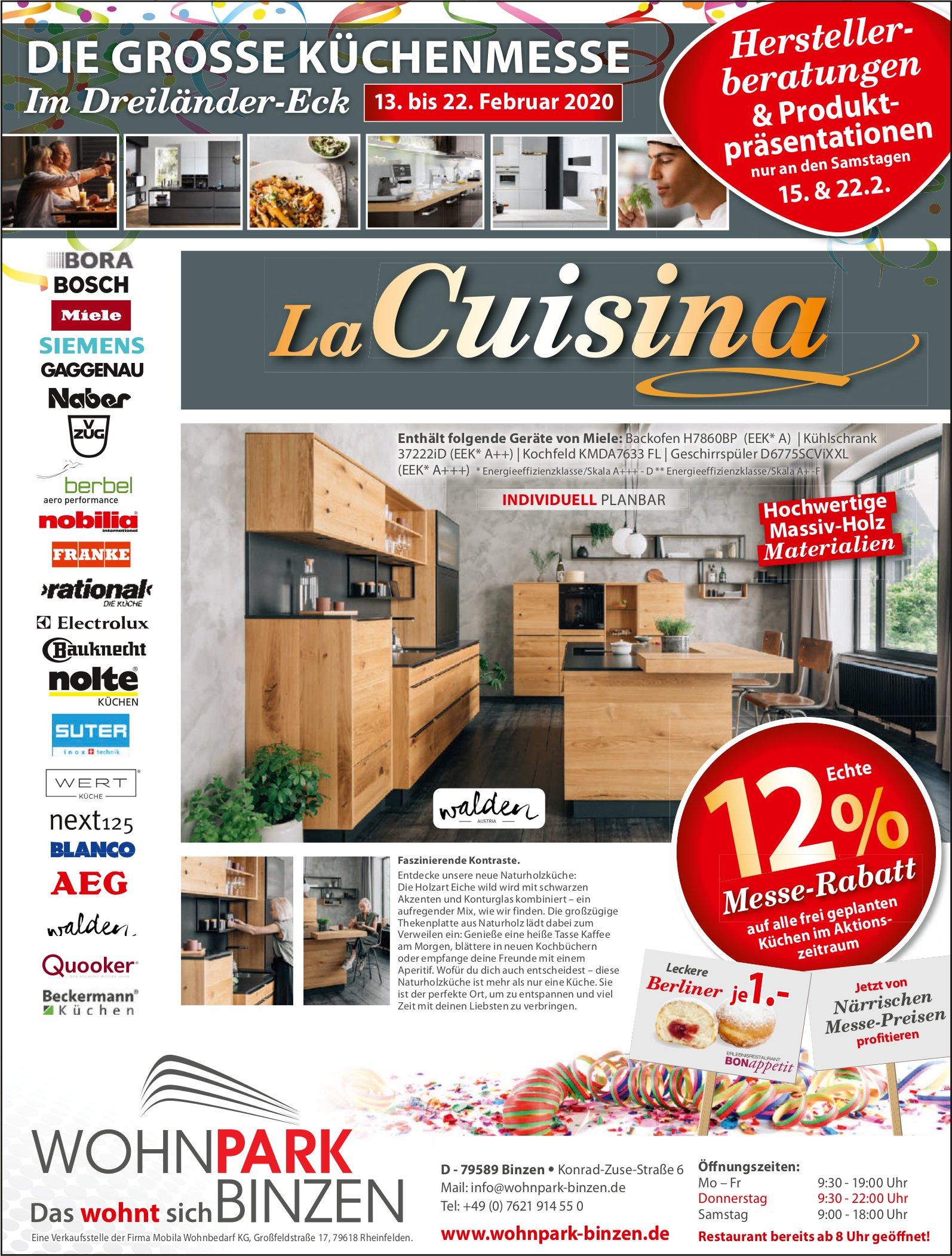 La Cuisina, die grosse Küchenmesse, 13. bis 22. Februar, Wohnpark Binzen, Rheinfelden