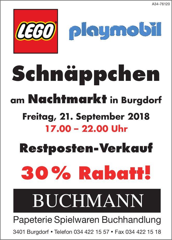 Buchmann Papeterie - Schnäppchen am Nachtmarkt in Burgdorf am 21. September, 30% Rabatt!