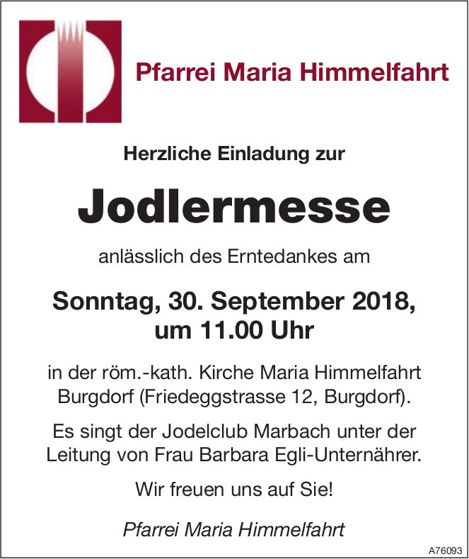 Pfarrei Maria Himmelfahrt - Jodlermesse am 30. September