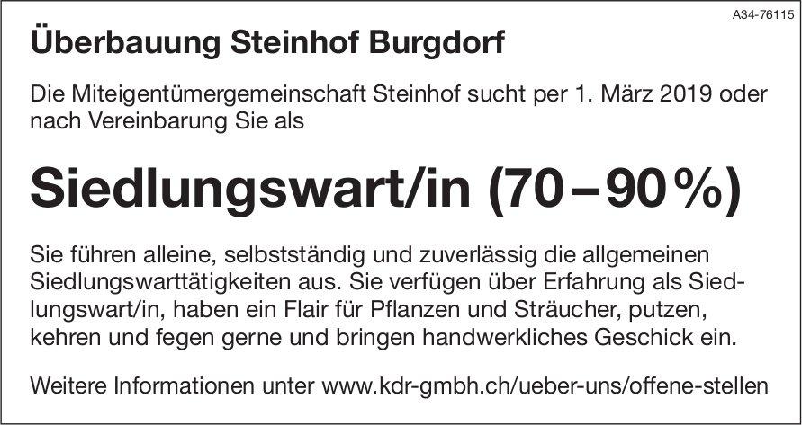 Siedlungswart/in (70–90%) für Überbauung Steinhof Burgdorf gesucht
