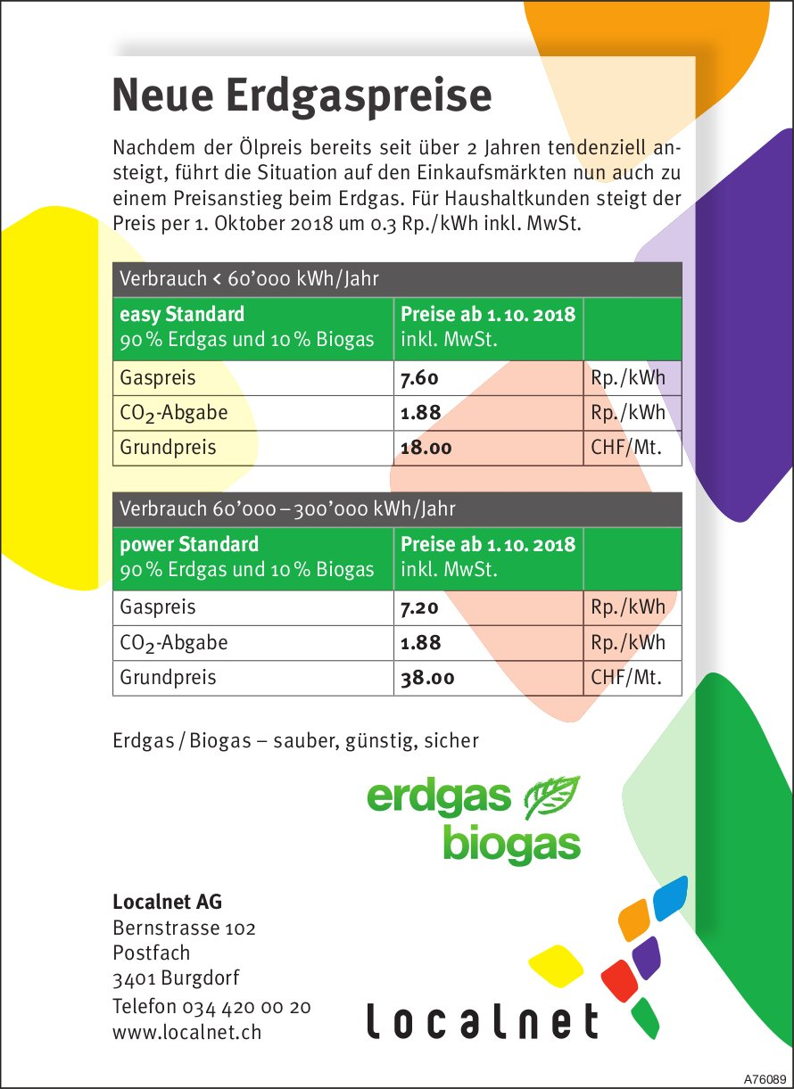 Localnet AG - Neue Erdgaspreise