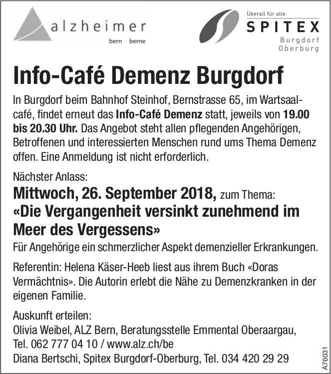 Spitex Burgdorf-Oberburg - Info-Café Demenz Burgdorf, nächster Anlass am 26. September