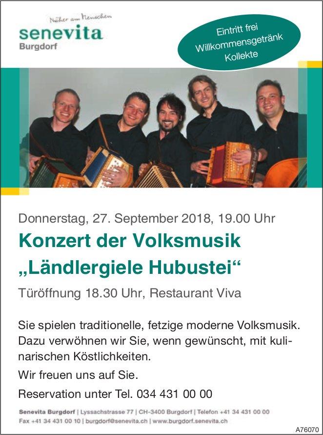 """Senevita Burgdorf - Konzert der Volksmusik """"Ländlergiele Hubustei"""" am 27. September"""
