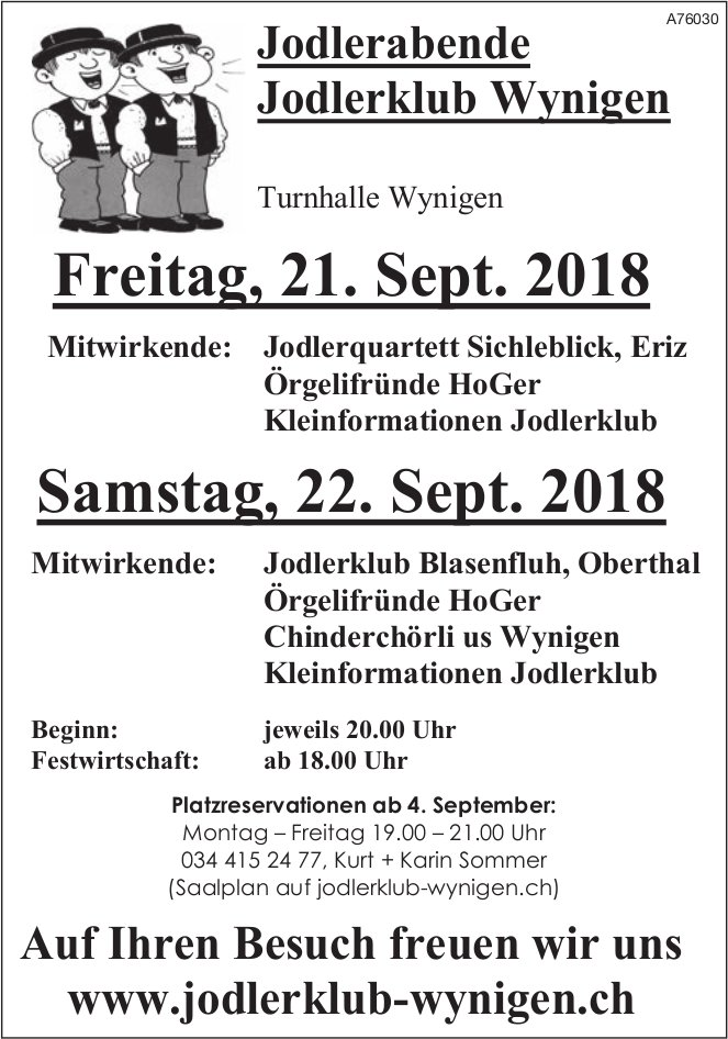 Jodlerabende Jodlerklub Wynigen am 21. + 22. September