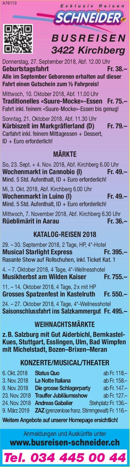 Schneider Busreisen - Programm & Events