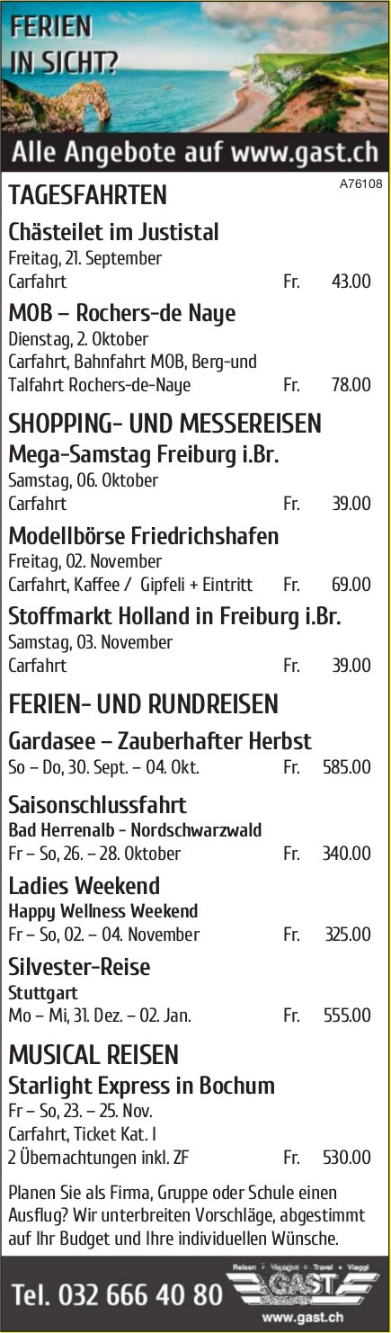 Gast - Ferien in Sicht? Programm & Events