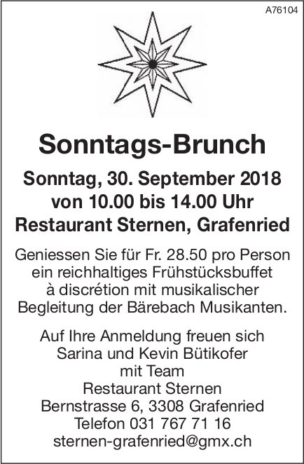 Restaurant Sternen, Grafenried - Sonntags-Brunch am 30. September