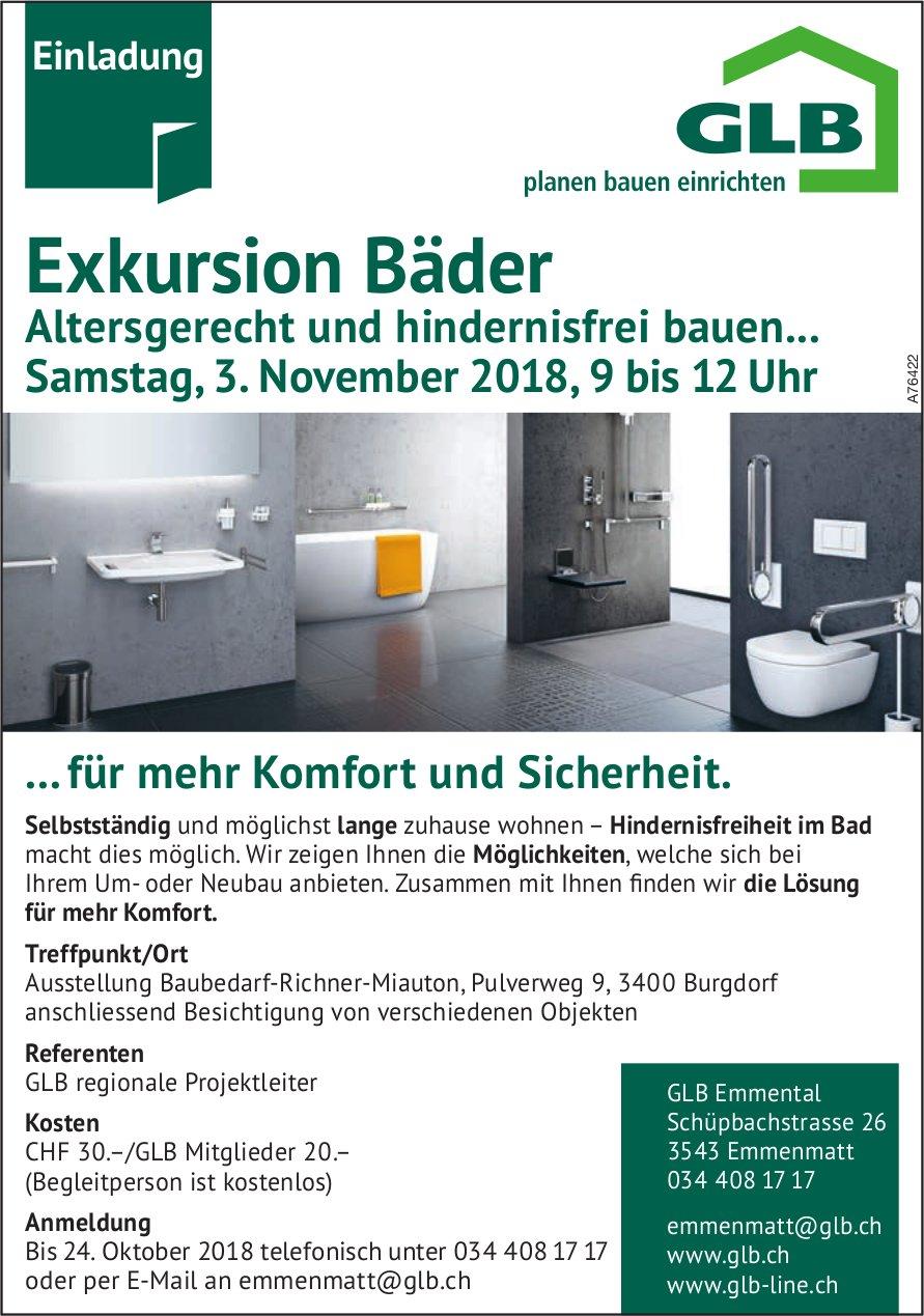 GLB - Exkursion Bäder: Altersgerecht & hindernisfrei bauen...  am 3. Nov.