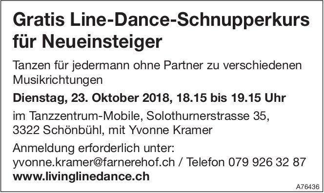 Gratis Line-Dance-Schnupperkurs für Neueinsteiger in Schönbühl am 23. Oktober