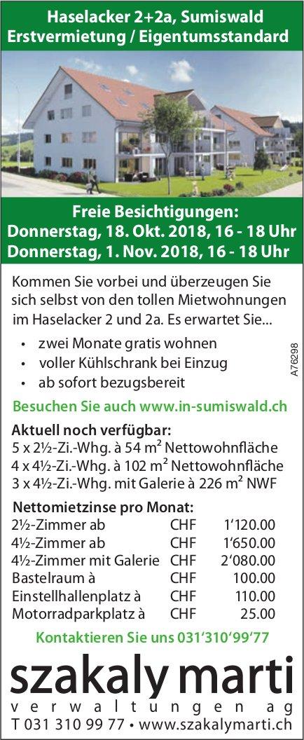 Erstvermietung / Eigentumsstandard in Sumiswald - Freie Besichtigungen am 18. Okt. + 1. Nov.