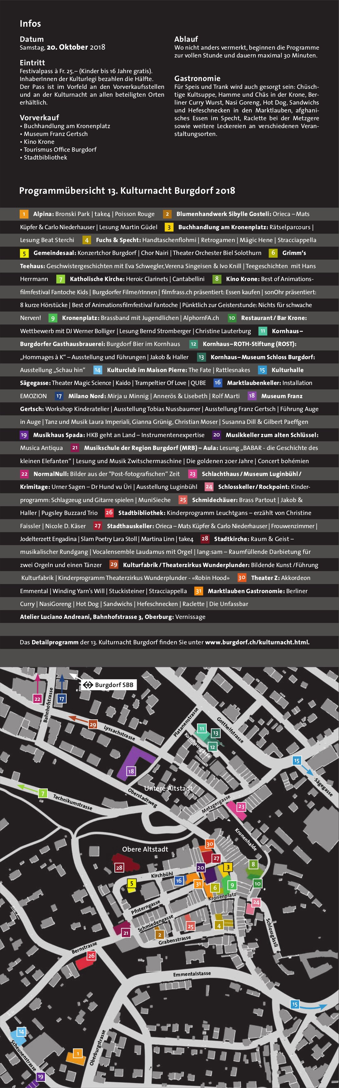 Programmübersicht 13. Kulturnacht Burgdorf 2018