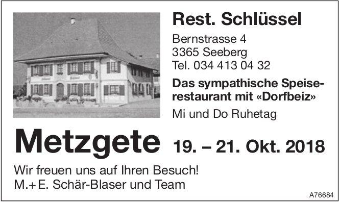 Rest. Schlüssel, Seeberg - Metzgete 19. - 21. Okt.