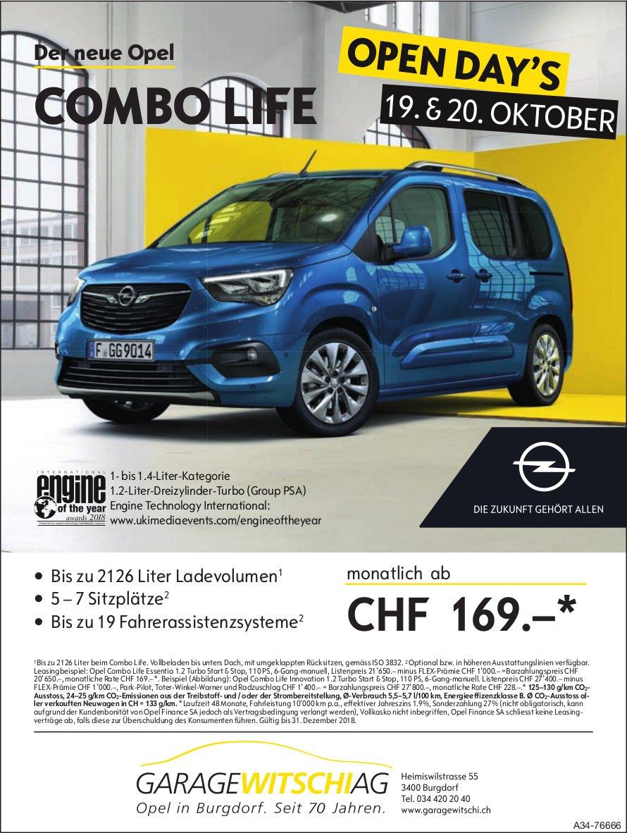 Garage Witschi AG - Der neue Opel COMBO LIFE: Open Day's 19. & 20. Okt.
