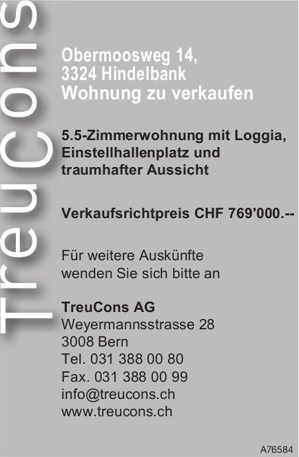 5.5-Zimmerwohnung mit Loggia in Hindelbank zu verkaufen