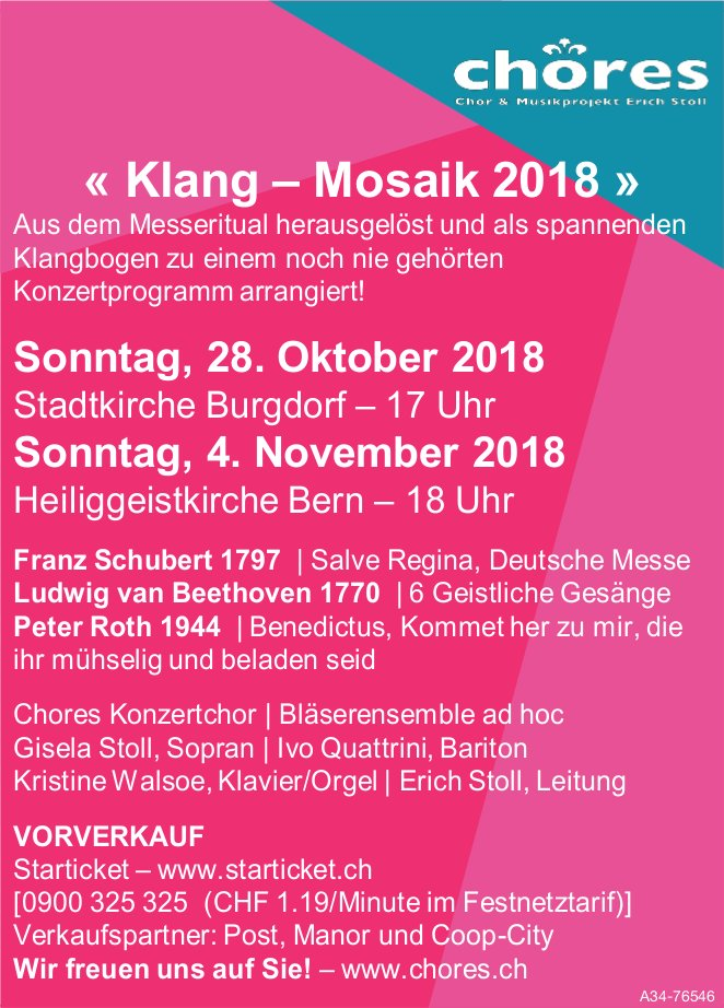 Chores - « Klang - Mosaik 2018 », 28. Okt. in Burgdorf + 4. Nov. in Bern