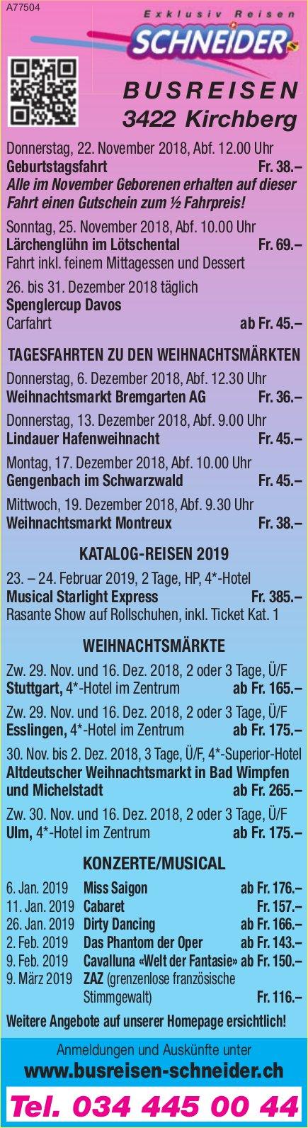 Schneider Busreisen, Programm