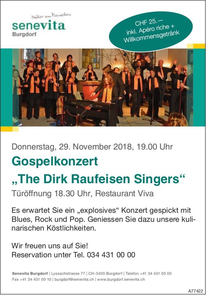 """Gospelkonzert """"The Dirk Raufeisen Singers"""", 29. Nov., Restaurant Viva"""