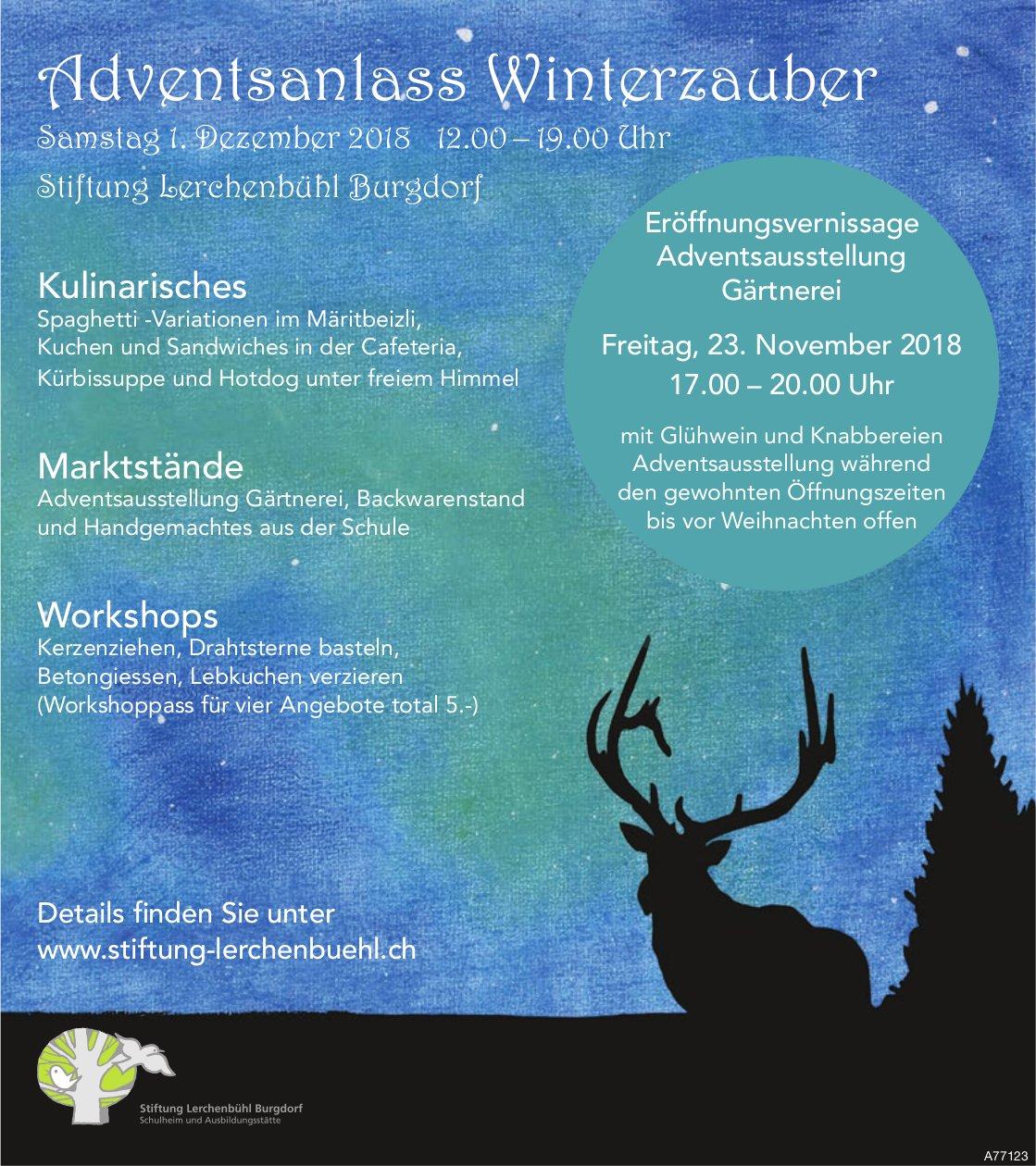 Adventsanlass Winterzauber, 1. Dez., Stiftung Lerchenbühl Burgdorf