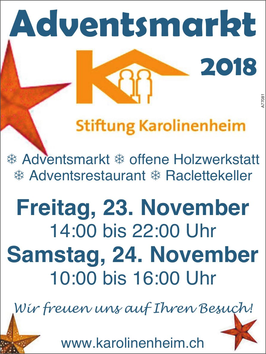 Adventsmarkt, 23./24. Nov., Stiftung Karolinenheim