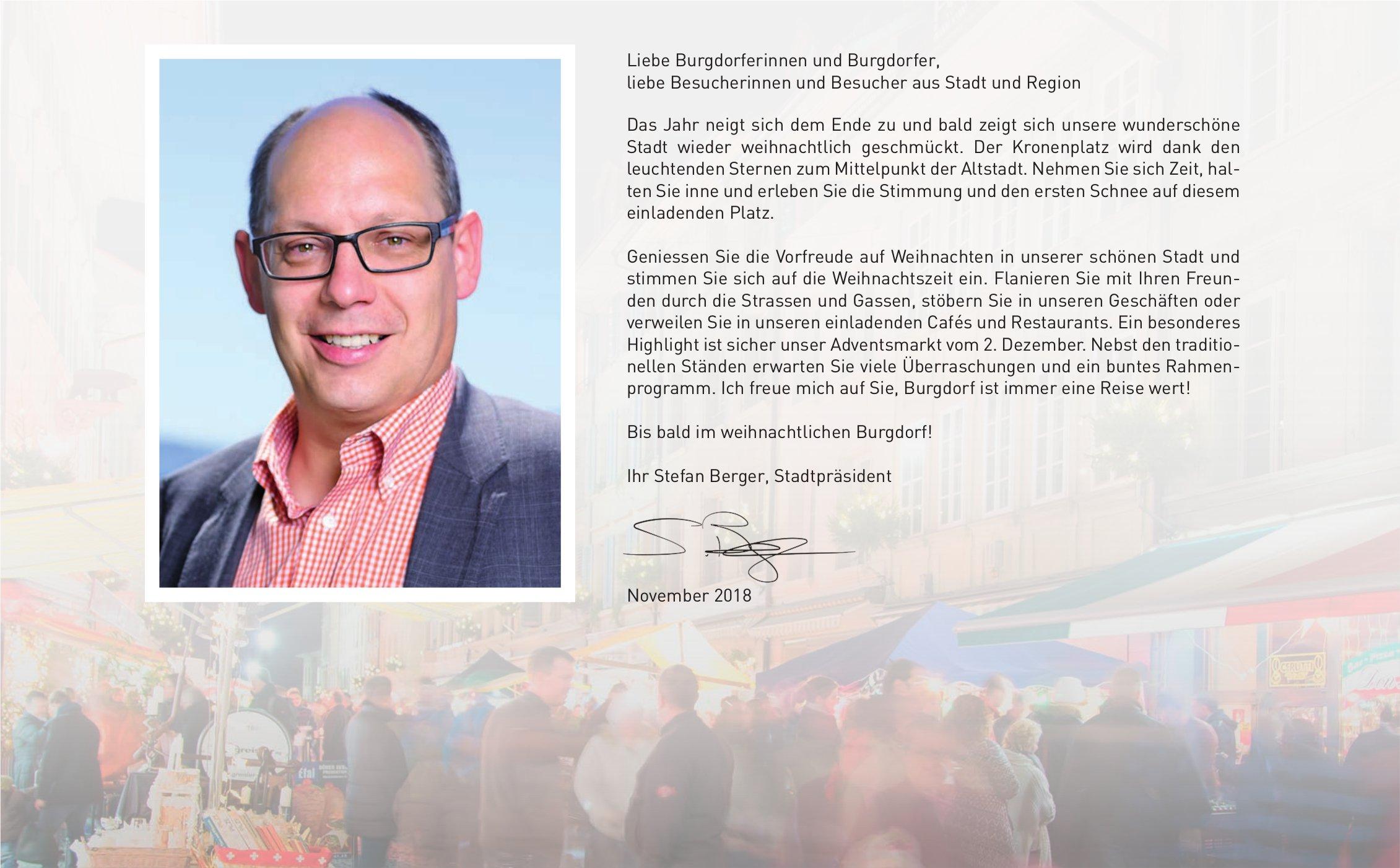 Liebe Burgdorferinnen und Burgdorfer - Ihr Stefan Berger, Stadtpräsident
