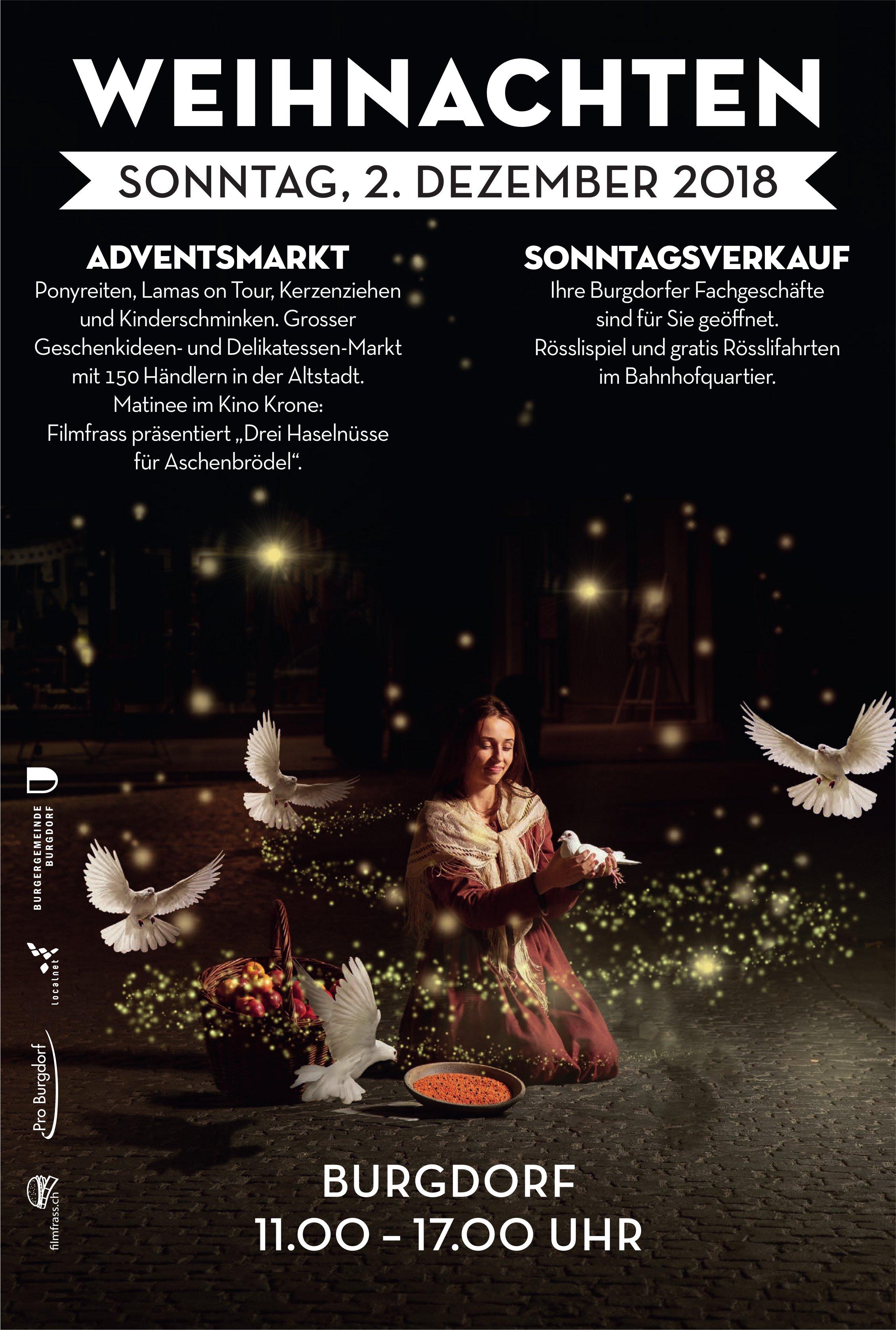 Weihnachten - Adventsmarkt / Sonntagsverkauf, 2. Dez., Burgdorf