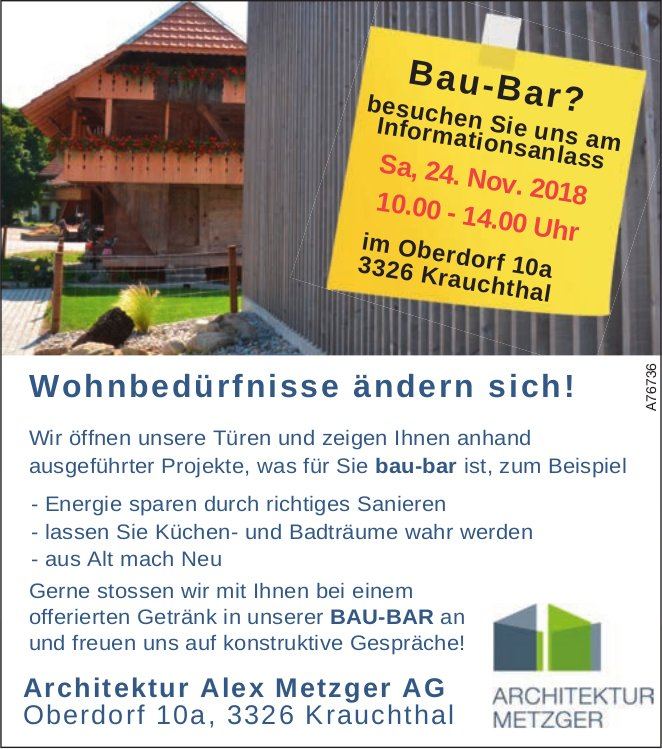 Bau-Bar? Infoanlass, 24. Nov., Architektur Alex Metzger AG
