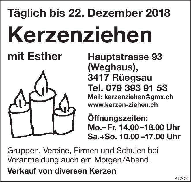 Kerzenziehen mit Esther, täglich bis 22. Dez.
