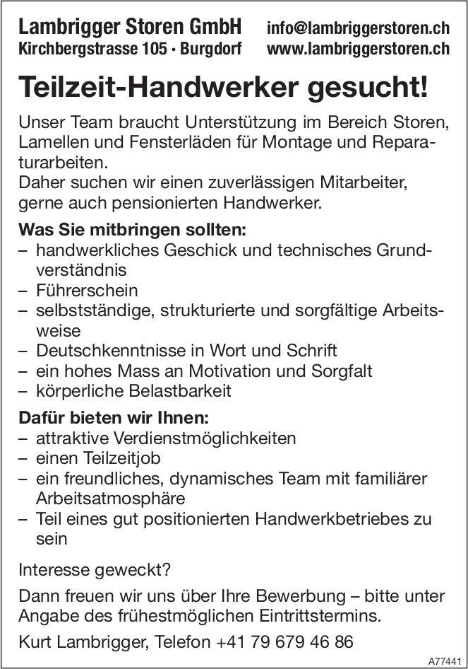 Teilzeit-Handwerker, Lambrigger Storen GmbH