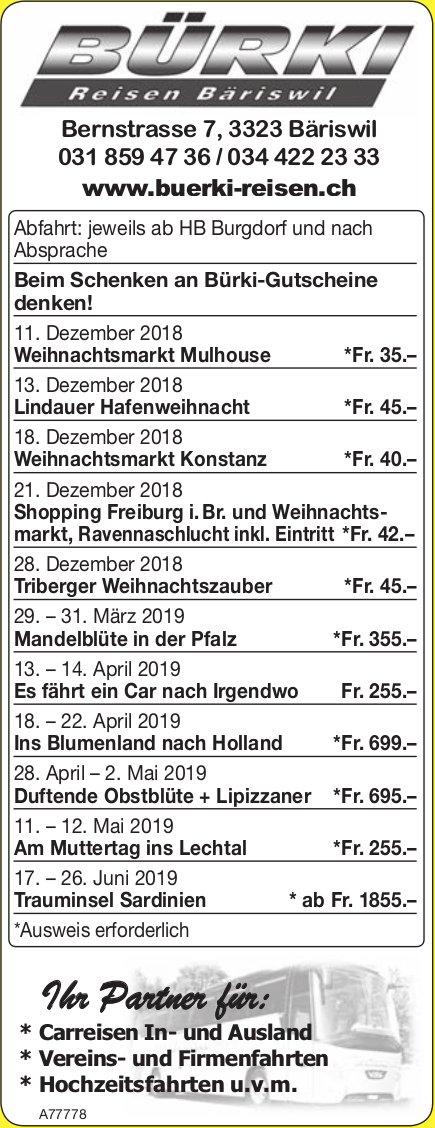 Bürki Reisen - Programm & Events