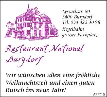 Restaurant National Burgdorf - Fröhliche Weihnachtszeit & einen guten Rutsch ins neue Jahr!