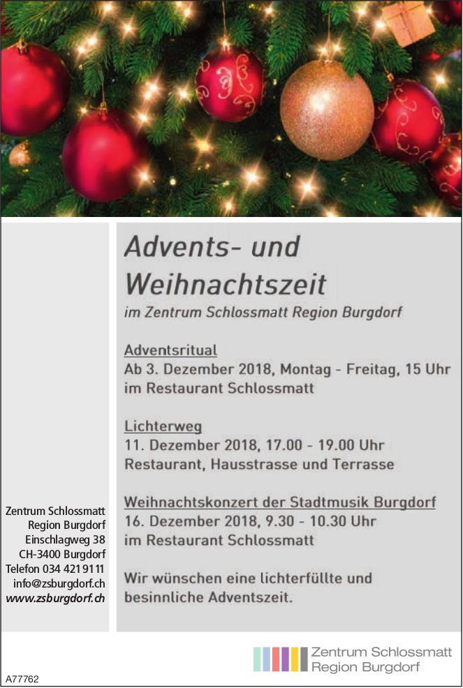 Zentrum Schlossmatt Region Burgdorf - Advents- und Weihnachtszeit