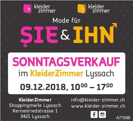 KleiderZimmer, Mode für Sie & Ihn - Sonntagsverkauf in Lyssach am 9. Dez.