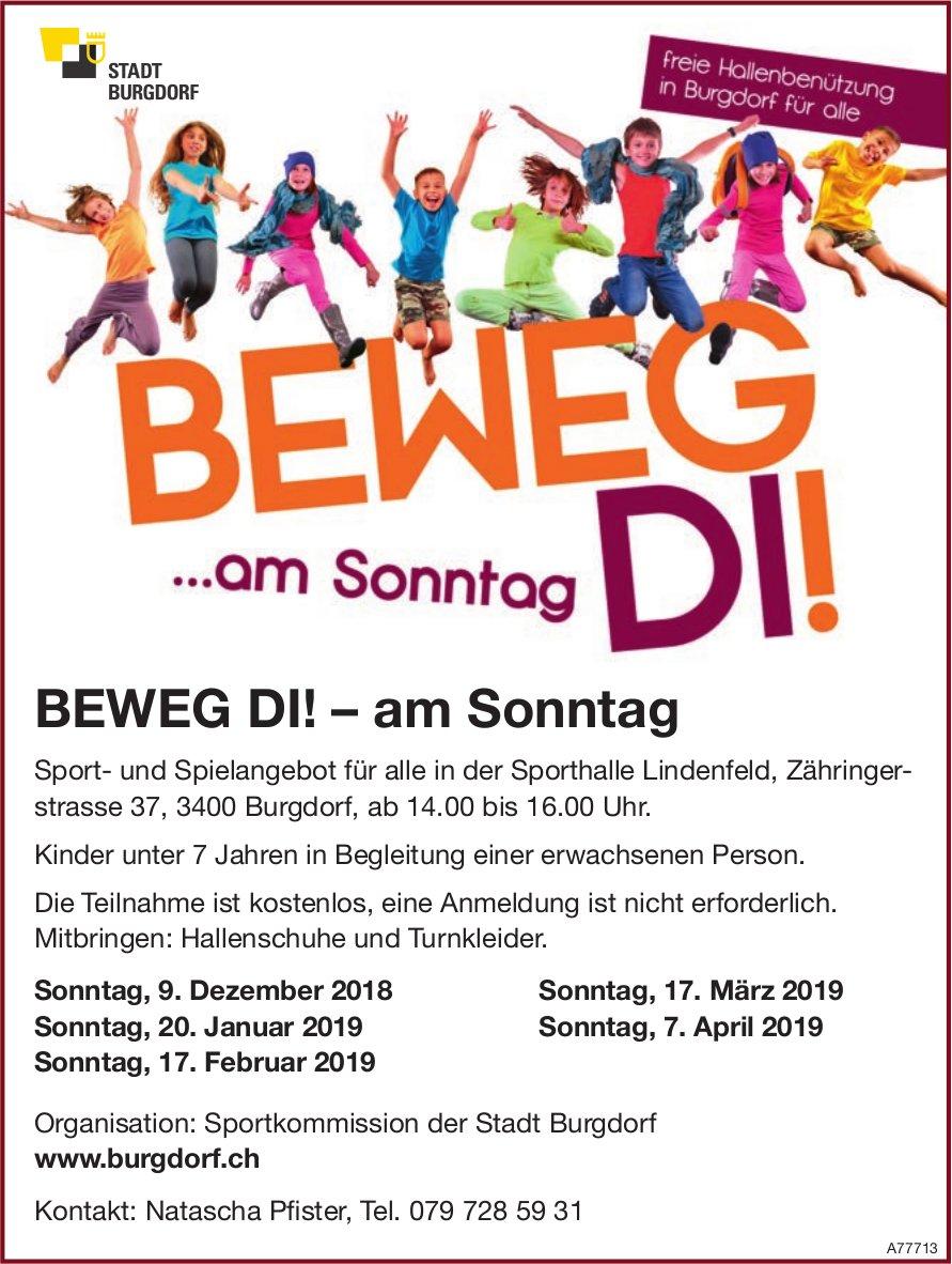 BEWEG DI! – am Sonntag in der Sporthalle Lindenfeld, Burgdorf