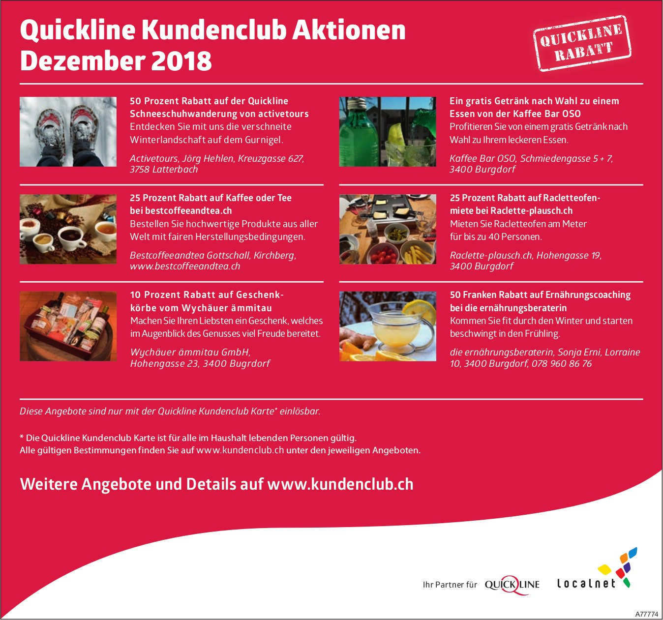 Quickline Kundenclub Aktionen im Dezember 2018
