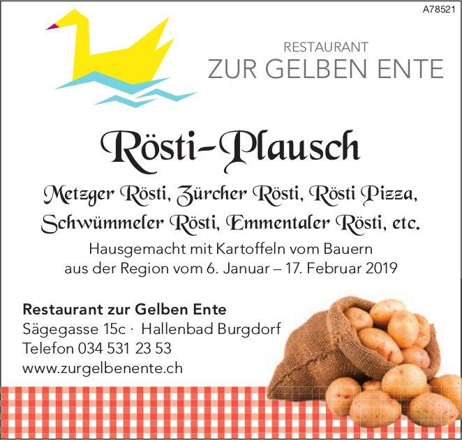 Restaurant zur Gelben Ente - Rösti-Plausch vom 6. Januar bis 17. Februar
