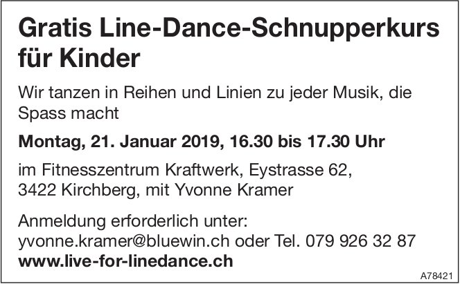 Gratis Line-Dance-Schnupperkurs für Kinder am 21. Januar