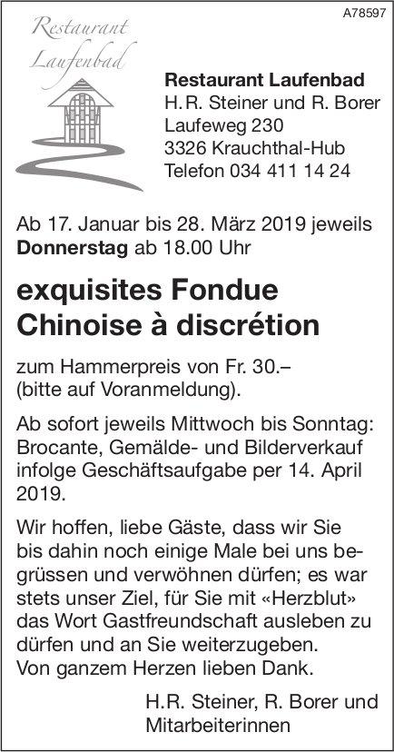 Restaurant Laufenbad - Exquisites Fondue Chinoise à discrétion ab 17. Januar