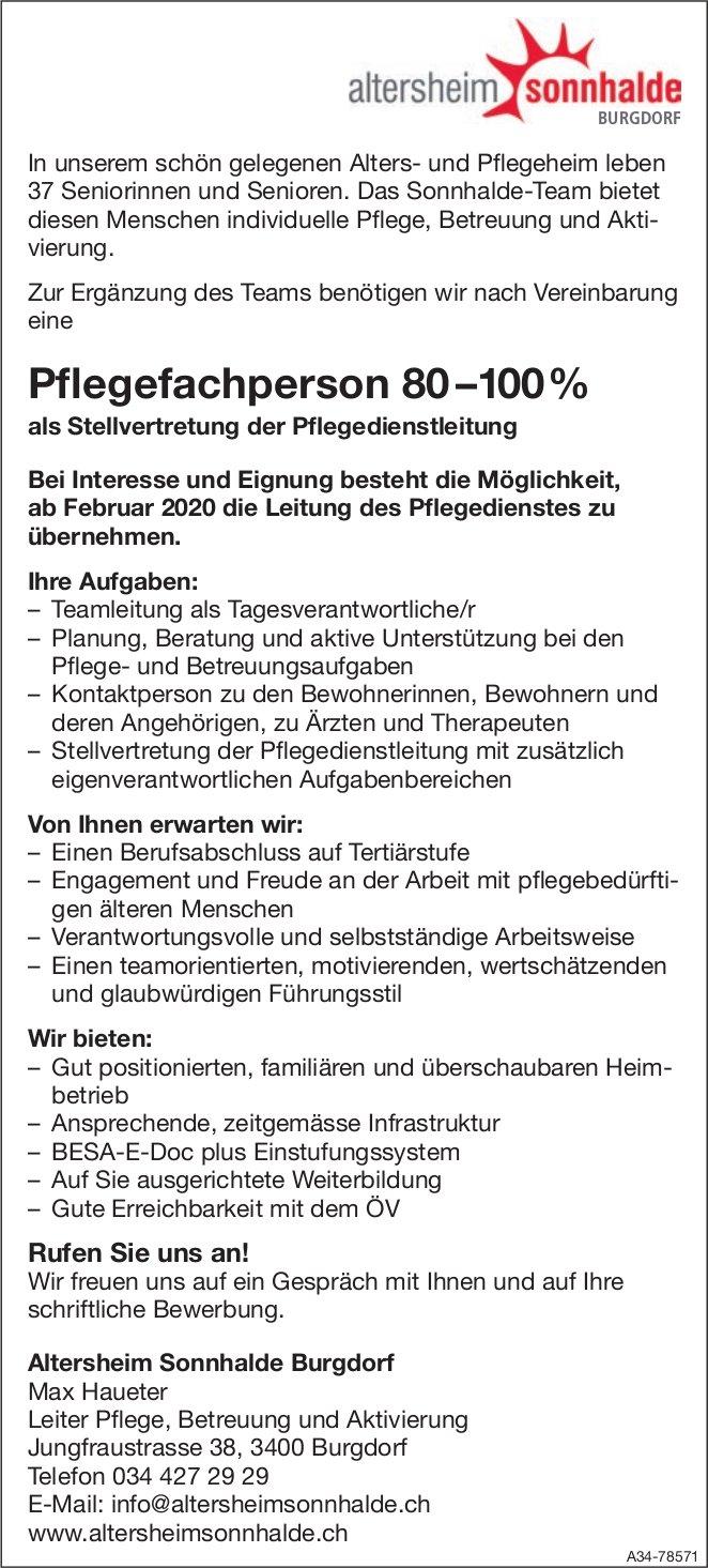 Pflegefachperson 80 –100% bei Altersheim Sonnhalde Burgdorf gesucht
