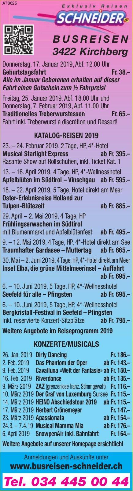 Busreisen Schneider Kirchberg - Programm & Events
