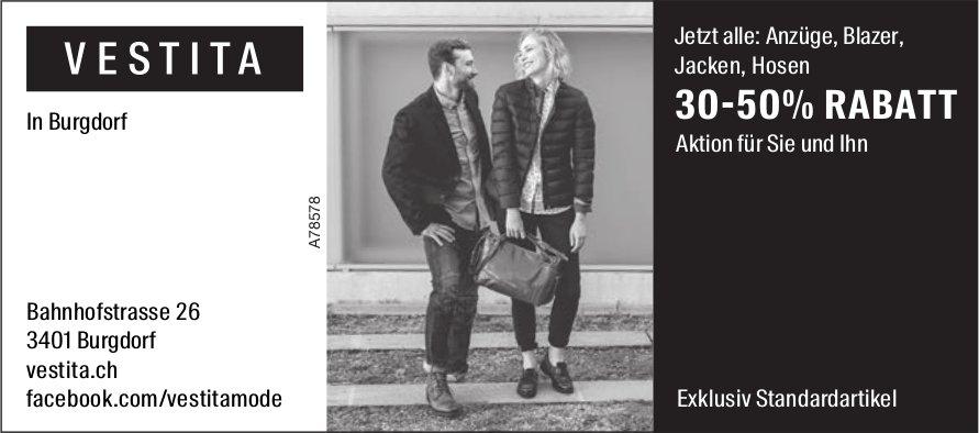 VESTITA in Burgdorf - 30-50% RABATT, Aktion für Sie und Ihn