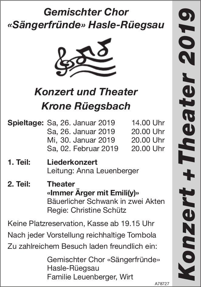 Gemischter Chor «Sängerfründe» Hasle-Rüegsau - Konzert und Theater Krone Rüegsbach, 26./30. Jan. + 2
