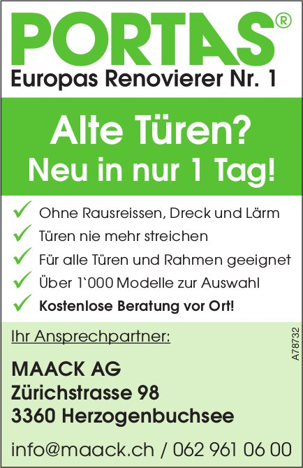 MAACK AG - PORTAS Europas Renovierer Nr. 1: Alte Türen? Neu in nur 1 Tag!