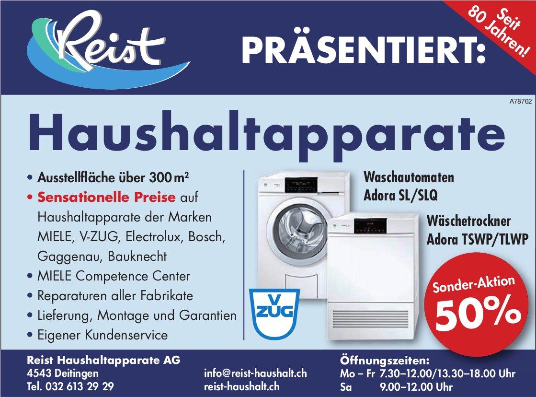 Reist Haushaltapparate AG - Sonder-Aktion 50% Waschautomaten/ Wäschetrockner VZUG Adora