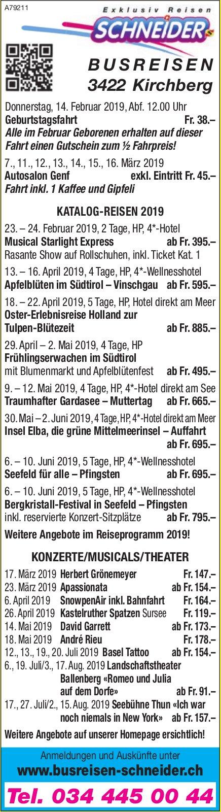 Busreisen Schneider, Kirchberg - Programm & Events