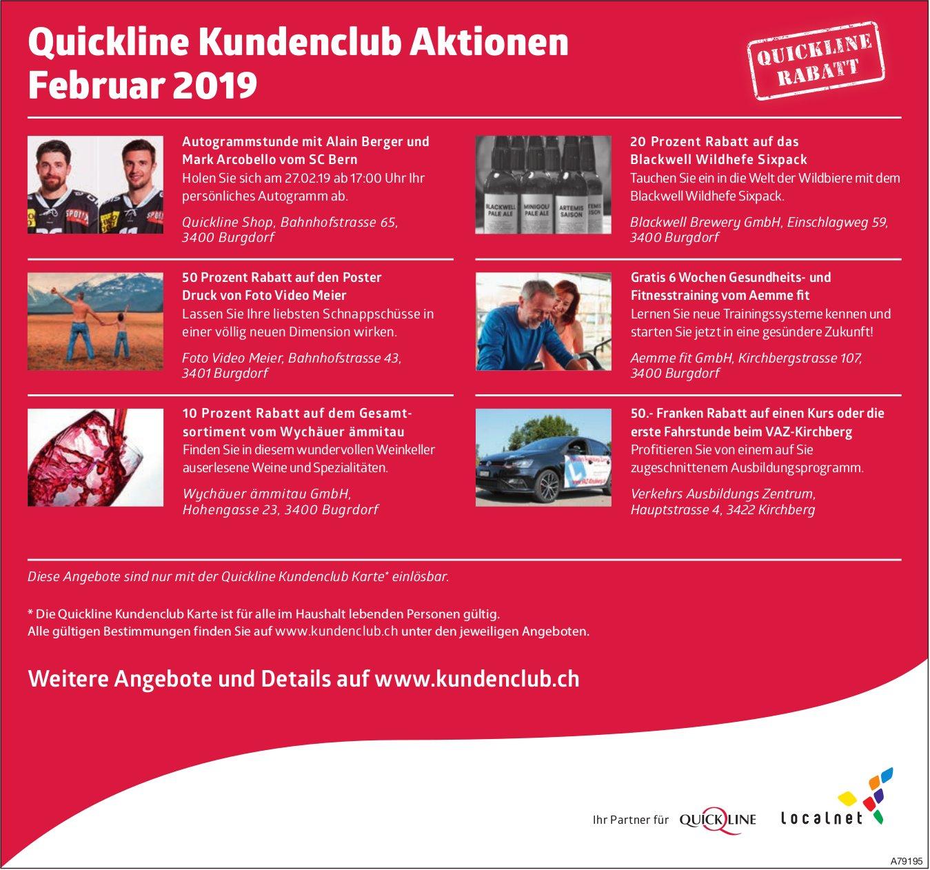 Quickline Kundenclub Aktionen Februar 2019
