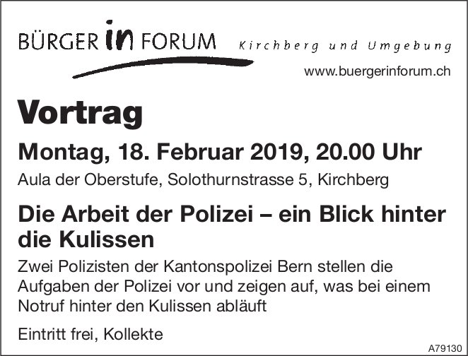 """Vortrag """"Die Arbeit der Polizei – ein Blick hinter die Kulissen"""" in Kirchberg am 18. Februar"""