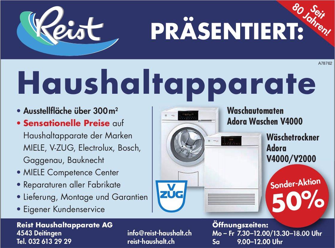 Reist Haushaltapparate AG - V ZUG Waschautomaten/ Wäschetrockner Sonder-Aktion 50%