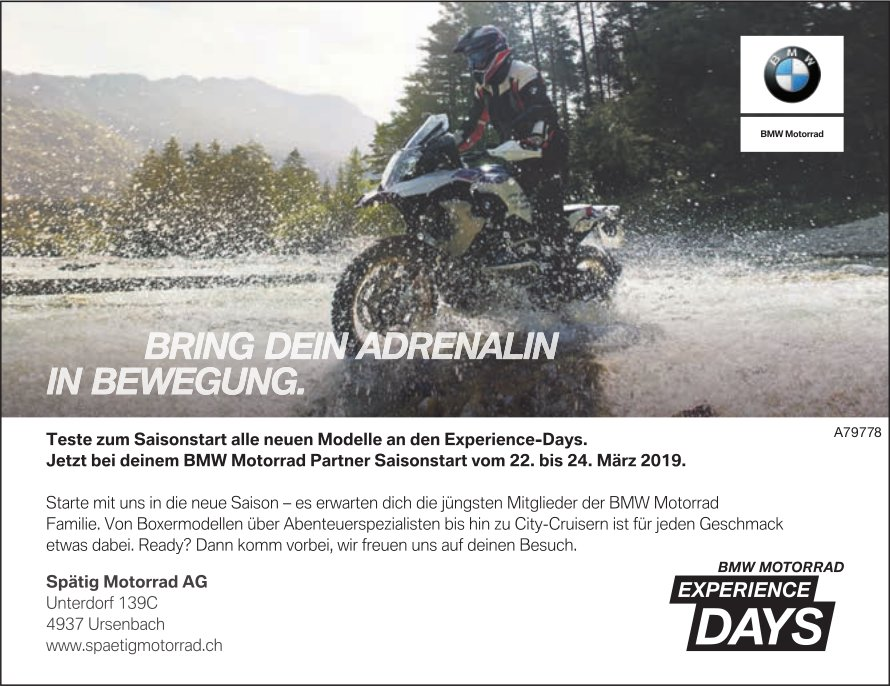 Spätig Motorrad AG - Saisonstart vom 22. bis 24. März