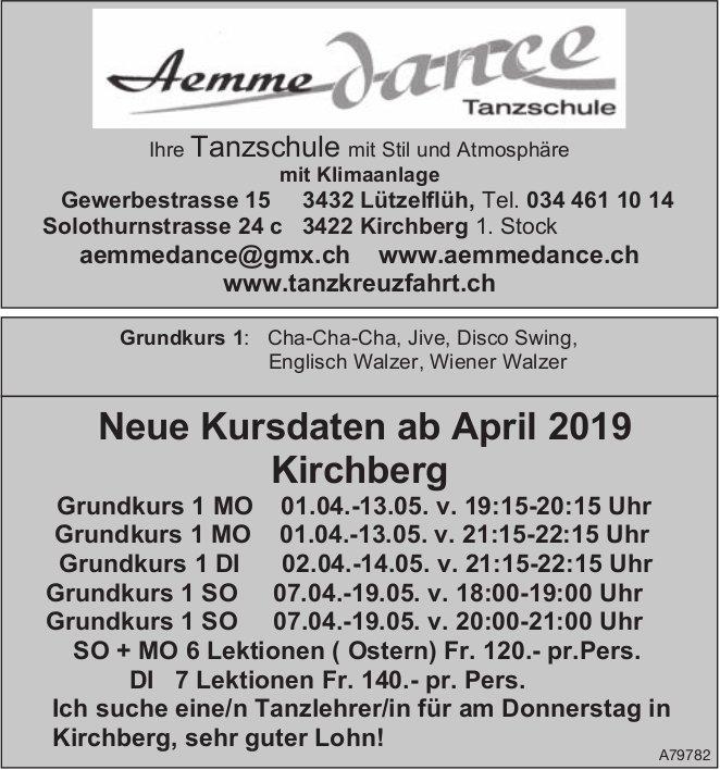 Aemme Dance Tanzschule - Neue Kursdaten ab April in Kirchberg